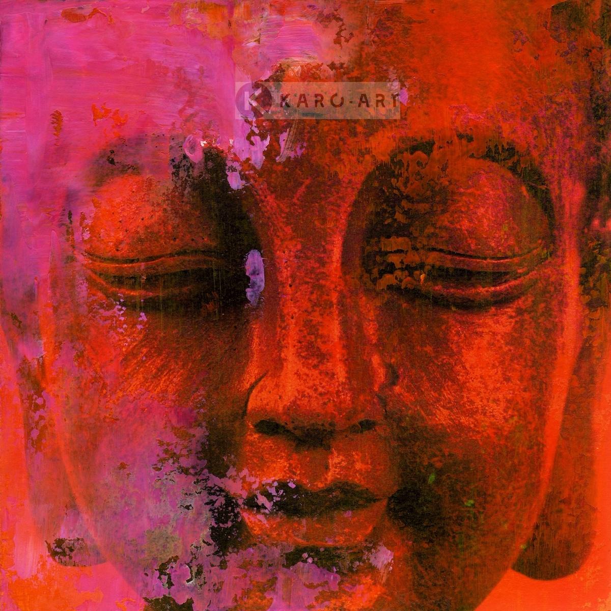 Schilderij - Gezicht van Boeddha in het rood, roze