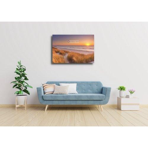Karo-art Schilderij - Duinen en strand bij zonsondergang op Texel