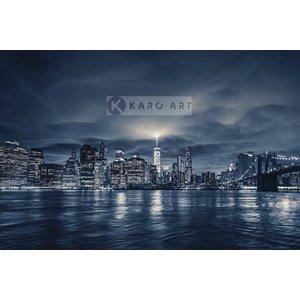 Schilderij -  Zicht op Manhattan 's nachts, NYC, blauw