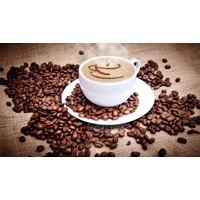 Karo-art Schilderij - Kopje koffie en bonen , Bruin wit , 2 maten , Wanddecoratie
