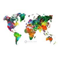 Schilderij - Wereld in kleuren, wereldkaart