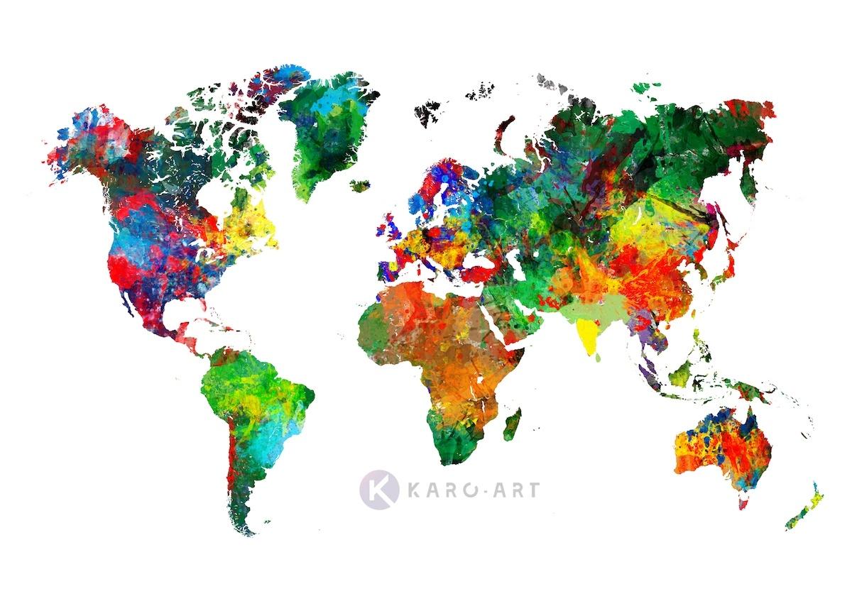 Schilderij - Wereld in kleuren, wereldkaart -  1 luik - 120x80 cm