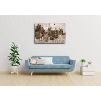 Karo-art Schilderij - Stad in abstractie (print van handgeschilderd) , Beige bruin , 3 maten , Premium print
