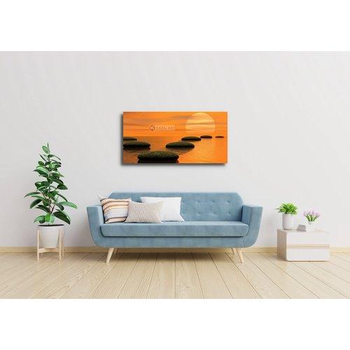 Schilderij - Zen stenen en zonsondergang