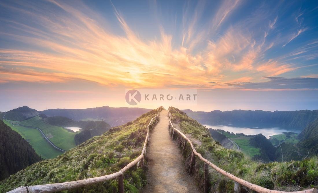 Schilderij - Ponta Delgada, Azoren, zonsondergang