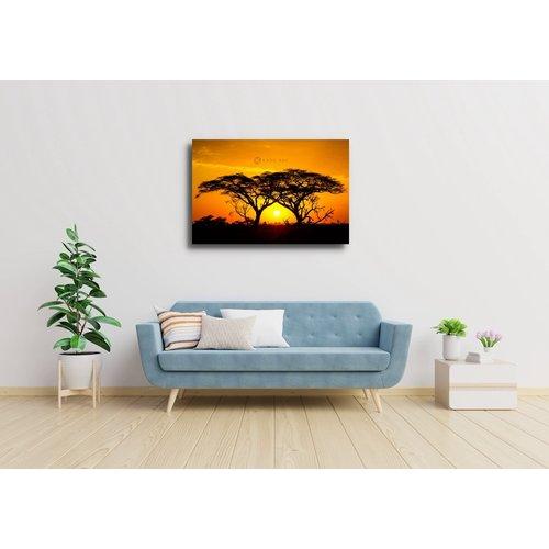 Karo-art Schilderij - Zonsondergang in Afrika