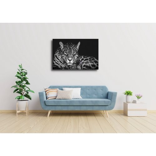 Karo-art Schilderij - Jaguar in zwart en wit