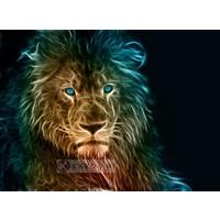Karo-art Schilderij - Leeuw in kleuren, premium print, 3 maten , Multikleur , Wanddecoratie