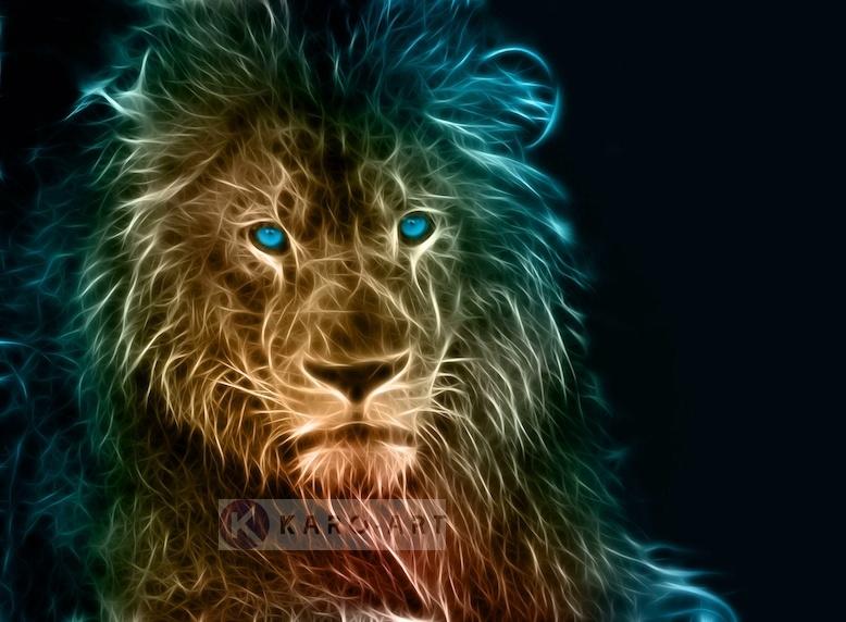Schilderij - Leeuw in kleuren, premium print, 3 maten , Multikleur , Wanddecoratie