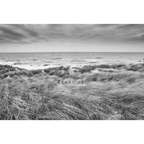Karo-art Schilderij - De Noordzee en duinen in zwart en wit