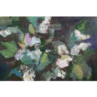Karo-art Schilderij - Voorjaarsbloemen, olieverf schilderij geprint op canvas