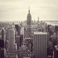 Karo-art Schilderij - Empire state building, New York, zwart/wit, premium print, 3 maten
