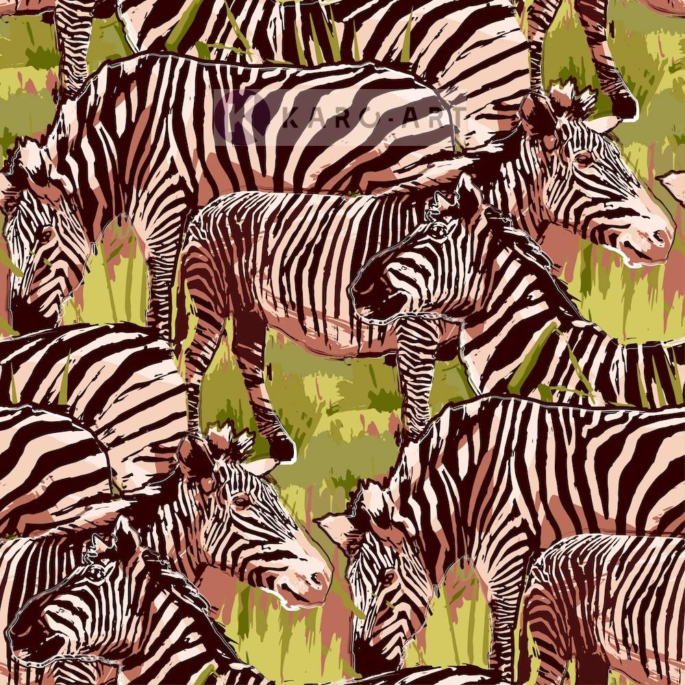 Schilderij - Zebra op de savanne, prachtige tekening op canvas geprint, Multikleur , 3 maten, Premiu
