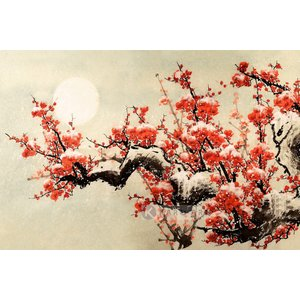 Karo-art Schilderij - Pruimenbloesem, rood, geel