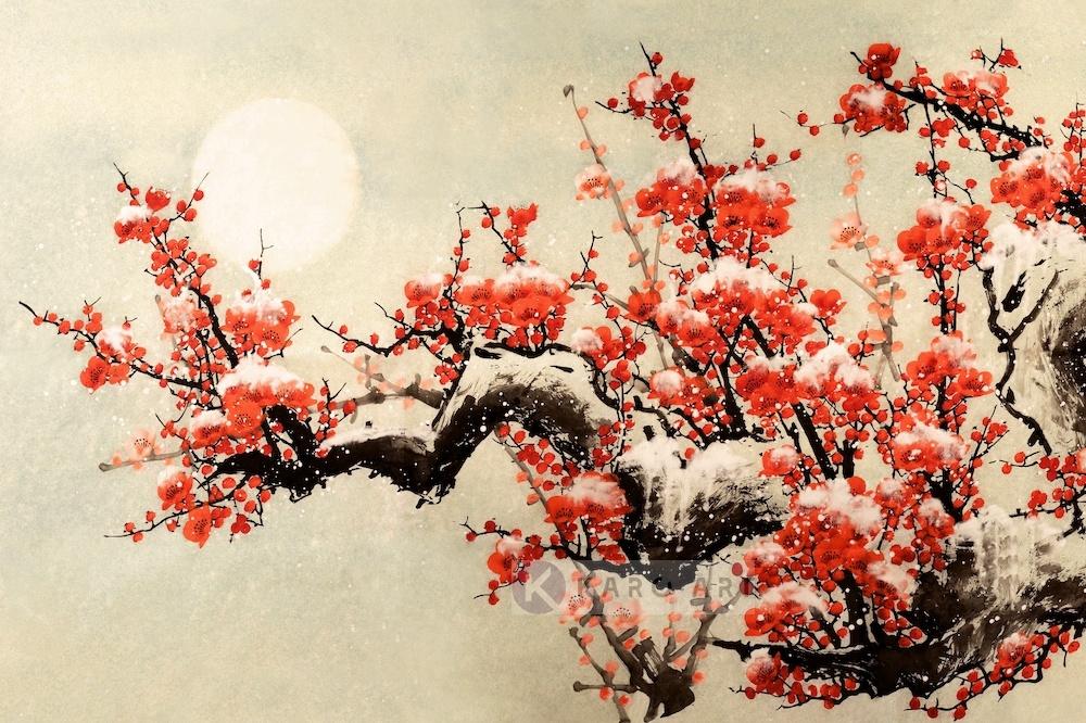 Schilderij - Pruimenbloesem, rood, geel