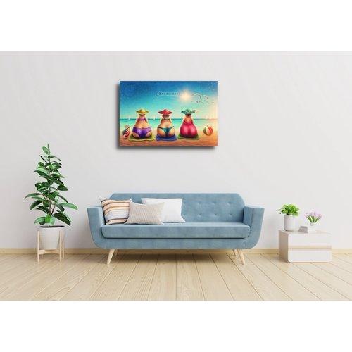 Karo-art Schilderij - Drie gezellige dames op het strand
