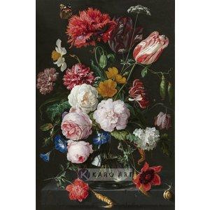 Karo-art Afbeelding op acrylglas - Stilleven met bloemen in een glazen vaas, Jan Davidsz de Heem