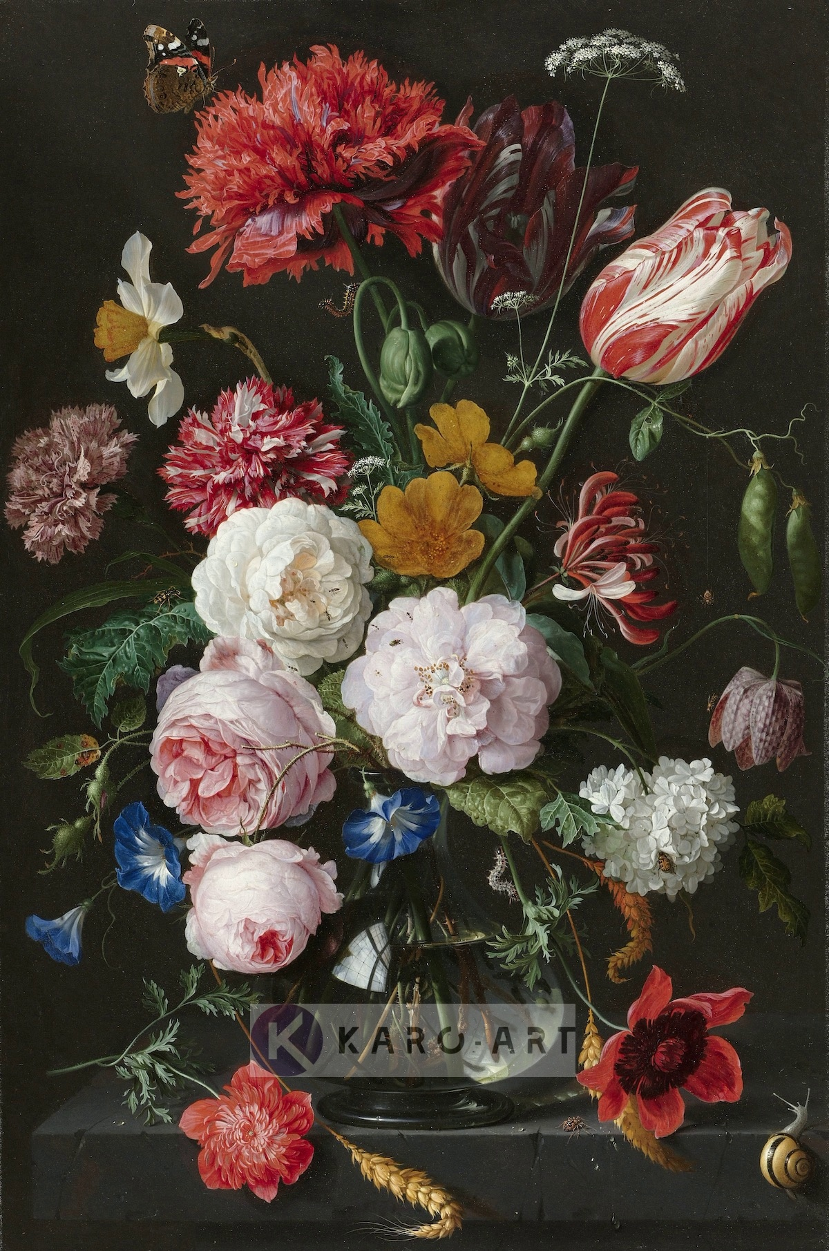 Afbeelding op acrylglas - Stilleven met bloemen in een glazen vaas, Jan Davidsz de Heem , Multikleur