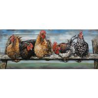 Schilderij - Metaalschilderij - Kippen op Stok, 60x150