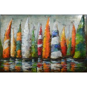 Schilderij - Metaalschilderij - Zeilboten II, 80x120