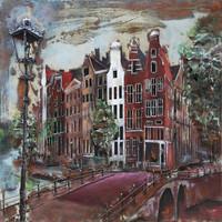 Schilderij - Metaalschilderij - Amsterdamse Grachten, 100x100