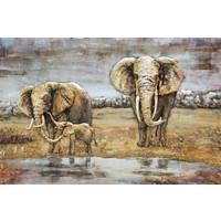 Schilderij - Metaalschilderij - Olifanten Familie, 80x120