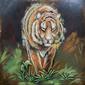 Schilderij - Metaalschilderij - Tijger, 100x100