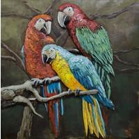 Schilderij - Metaalschilderij - Papegaaien Familie, 100x100