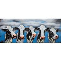 Schilderij - Metaalschilderij - Blije Koeien, 60x150
