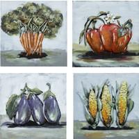 Schilderij - Metaalschilderij - Kleurrijke Groentes, Set van 4x 40x40