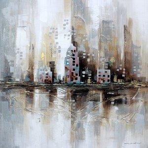 Schilderij - Handgeschilderd - City Skyline, 100x100