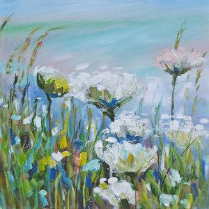 Schilderij - Handgeschilderd - Wilde Bloemen, 100x100