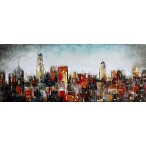 Schilderij - Handgeschilderd - Stads Skyline, 60x150