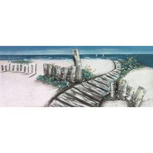 Schilderij - Handgeschilderd - Pad naar het strand, 60x150