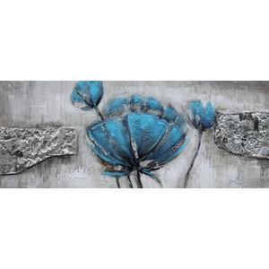 Schilderij - Handgeschilderd - Blauwe Klaproos, 60x150