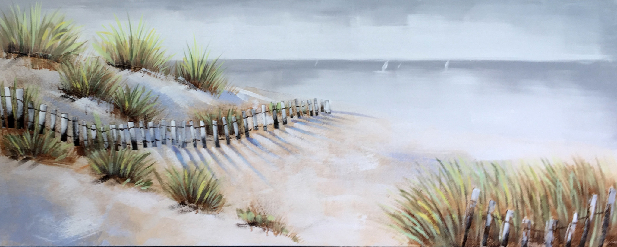 Schilderij - Handgeschilderd - Strandzicht, 60x150