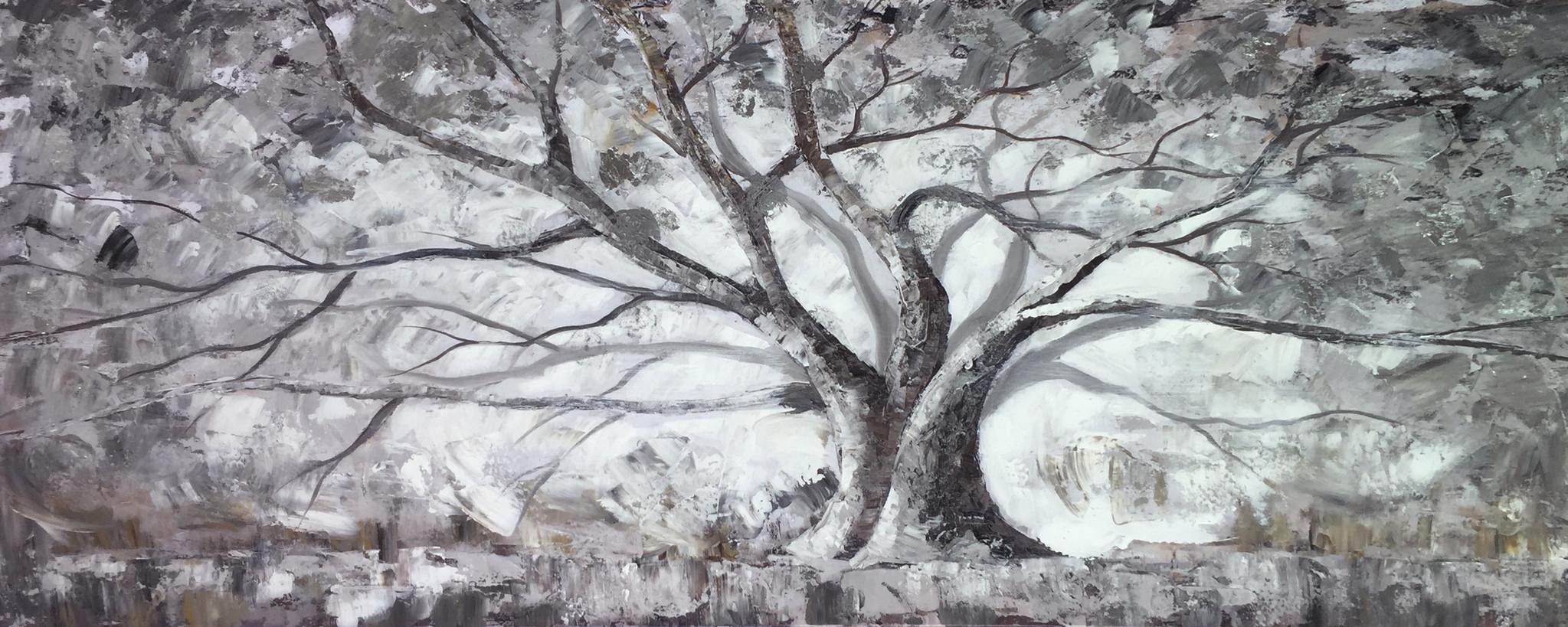 Schilderij - Handgeschilderd - Winterboom, 60x150