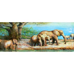 Schilderij - Handgeschilderd - Olifanten in de Savanne , 60x150
