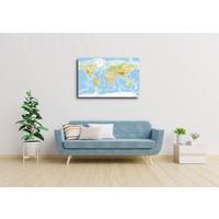 Karo-art Schilderij - Zeer gedetailleerde wereldkaart