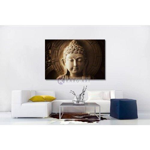 Karo-art Afbeelding op acrylglas - Mijmerende boeddha , Beige bruin , 3 maten , Wanddecoratie