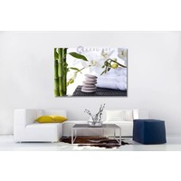 Karo-art Afbeelding op acrylglas - Orchidee, zen stenen en bamboe