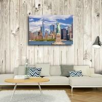 Karo-art Afbeelding op acrylglas - Vrijheidsbeeld, zicht op New York City