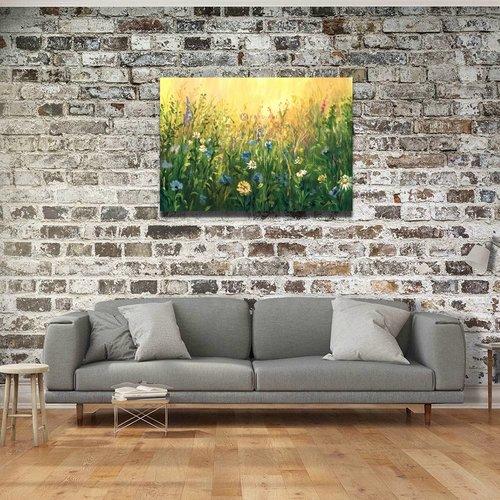 Karo-art Afbeelding op acrylglas - Zomer weide