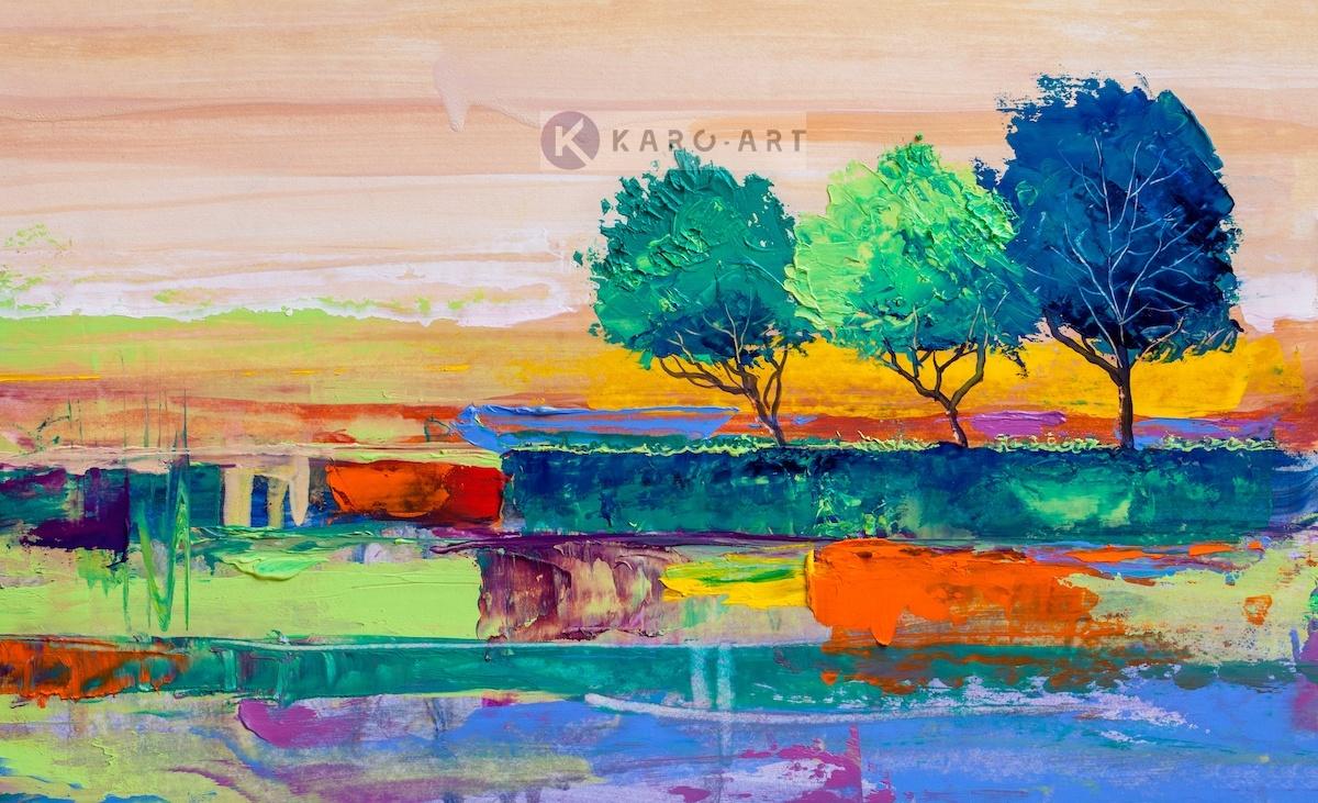 Afbeelding op acrylglas - Gekleurde bomen