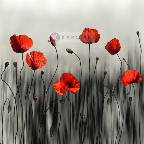 Karo-art Afbeelding op acrylglas  - Klaprozen, moderne kunst