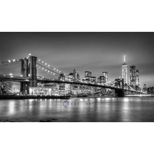 Karo-art Afbeelding op acrylglas - Brooklyn bridge, New York, zwart-wit