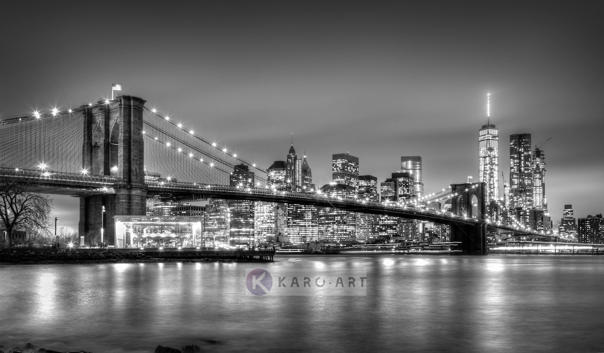 Afbeelding op acrylglas - Brooklyn bridge, New York, zwart-wit