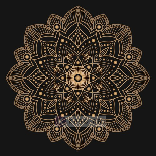 Karo-art Afbeelding op acrylglas - Mandala, bruin