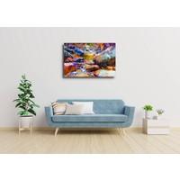 Karo-art Afbeelding op acrylglas  - Waterval met kleurrijke stenen (digitale kunst)