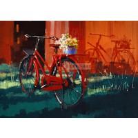 Karo-art Afbeelding op acrylglas  - Rode fiets met bloemen